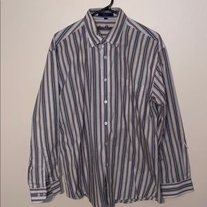 Men's Alan Flusser Striped Shirt Sz LG